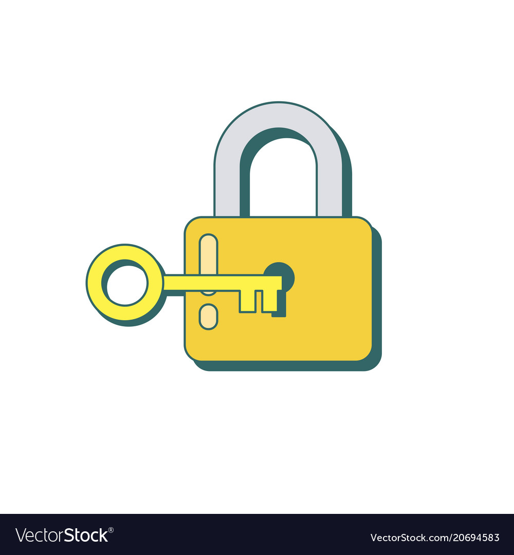 Lock and key icon in flat style.